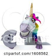 September 17th, 2018: Clipart Of A 3d Unicorn Holding A Euro On A White Background Royalty Free Illustration by Julos