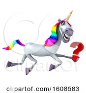 September 17th, 2018: Clipart Of A 3d Unicorn Holding A Question Mark On A White Background Royalty Free Illustration by Julos