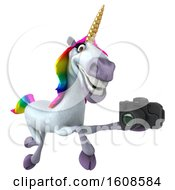 September 18th, 2018: Clipart Of A 3d Unicorn Holding A Camera On A White Background Royalty Free Illustration by Julos