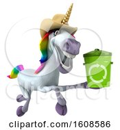 September 18th, 2018: Clipart Of A 3d Cowboy Unicorn Holding A Recycle Bin On A White Background Royalty Free Illustration by Julos