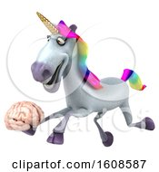 September 18th, 2018: Clipart Of A 3d Unicorn Holding A Brain On A White Background Royalty Free Illustration by Julos