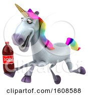 September 18th, 2018: Clipart Of A 3d Unicorn Holding A Soda On A White Background Royalty Free Illustration by Julos