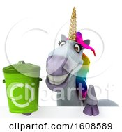 September 18th, 2018: Clipart Of A 3d Unicorn Holding A Recycle Bin On A White Background Royalty Free Illustration by Julos