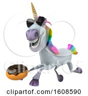 September 18th, 2018: Clipart Of A 3d Unicorn Holding A Donut On A White Background Royalty Free Illustration by Julos