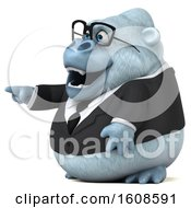 Poster, Art Print Of 3d White Business Monkey Yeti Pointing On A White Background
