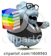 Poster, Art Print Of 3d White Business Monkey Yeti Holding Books On A White Background