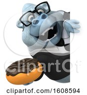 September 17th, 2018: Clipart Of A 3d White Business Monkey Yeti Holding A Donut On A White Background Royalty Free Illustration by Julos