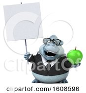 September 17th, 2018: Clipart Of A 3d White Business Monkey Yeti Holding An Apple On A White Background Royalty Free Illustration by Julos