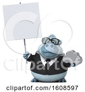 September 17th, 2018: Clipart Of A 3d White Business Monkey Yeti Holding A Cloud On A White Background Royalty Free Illustration by Julos