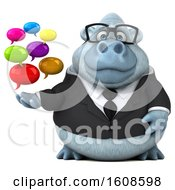 3d White Business Monkey Yeti Holding Messages On A White Background