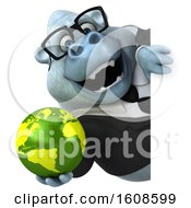 September 17th, 2018: Clipart Of A 3d White Business Monkey Yeti Holding A Globe On A White Background Royalty Free Illustration by Julos