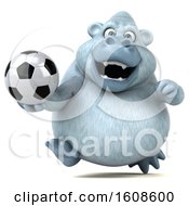 Poster, Art Print Of 3d White Monkey Yeti Holding A Soccer Ball On A White Background