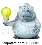 Poster, Art Print Of 3d White Monkey Yeti Holding A Light Bulb On A White Background