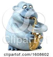 Poster, Art Print Of 3d White Monkey Yeti Holding A Saxophone On A White Background