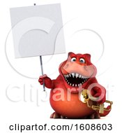 September 17th, 2018: Clipart Of A 3d Red Business T Rex Dinosaur Holding A Trumpet On A White Background Royalty Free Illustration by Julos