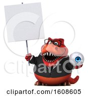 September 18th, 2018: Clipart Of A 3d Red Business T Rex Dinosaur Holding An Eyeball On A White Background Royalty Free Illustration by Julos
