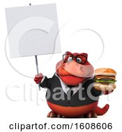 September 18th, 2018: Clipart Of A 3d Red Business T Rex Dinosaur Holding A Burger On A White Background Royalty Free Illustration by Julos