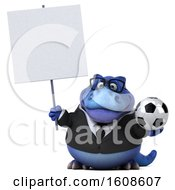 September 17th, 2018: Clipart Of A 3d Blue Business T Rex Dinosaur Holding A Soccer Ball On A White Background Royalty Free Illustration by Julos