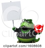 September 17th, 2018: Clipart Of A 3d Green Business T Rex Dinosaur Holding A Devil On A White Background Royalty Free Illustration by Julos