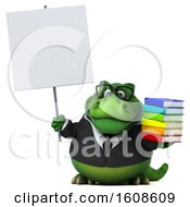 September 17th, 2018: Clipart Of A 3d Green Business T Rex Dinosaur Holding Books On A White Background Royalty Free Illustration by Julos