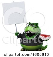 September 17th, 2018: Clipart Of A 3d Green Business T Rex Dinosaur Holding A Steak On A White Background Royalty Free Illustration by Julos
