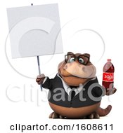 September 17th, 2018: Clipart Of A 3d Brown Business T Rex Dinosaur Holding A Soda On A White Background Royalty Free Illustration by Julos
