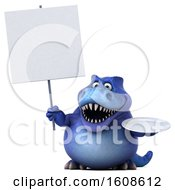 September 17th, 2018: Clipart Of A 3d Blue T Rex Dinosaur Holding A Plate On A White Background Royalty Free Illustration by Julos