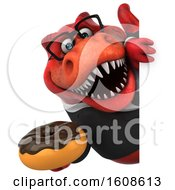 September 17th, 2018: Clipart Of A 3d Red Business T Rex Dinosaur Holding A Donut On A White Background Royalty Free Illustration by Julos