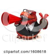 September 18th, 2018: Clipart Of A 3d Red Business T Rex Dinosaur Holding A Chocolate Egg On A White Background Royalty Free Illustration by Julos