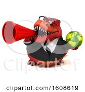 September 18th, 2018: Clipart Of A 3d Red Business T Rex Dinosaur Holding A Globe On A White Background Royalty Free Illustration by Julos