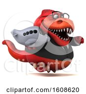 September 18th, 2018: Clipart Of A 3d Red Business T Rex Dinosaur Holding A Plane On A White Background Royalty Free Illustration by Julos