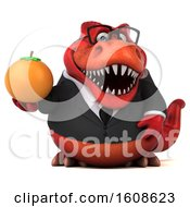 Clipart Of A 3d Red Business T Rex Dinosaur Holding An Orange On A White Background Royalty Free Illustration
