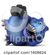 Clipart Of A 3d Blue T Rex Dinosaur Holding A Camera On A White Background Royalty Free Illustration