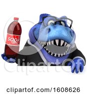 September 17th, 2018: Clipart Of A 3d Blue Business T Rex Dinosaur Holding A Soda On A White Background Royalty Free Illustration by Julos