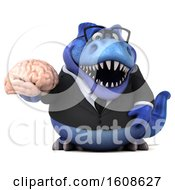 September 17th, 2018: Clipart Of A 3d Blue Business T Rex Dinosaur Holding A Brain On A White Background Royalty Free Illustration by Julos
