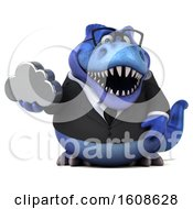 September 17th, 2018: Clipart Of A 3d Blue Business T Rex Dinosaur Holding A Cloud On A White Background Royalty Free Illustration by Julos