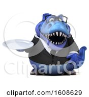 Clipart Of A 3d Blue Business T Rex Dinosaur Holding A Plate On A White Background Royalty Free Illustration