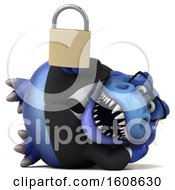 Clipart Of A 3d Blue Business T Rex Dinosaur Holding A Padlock On A White Background Royalty Free Illustration