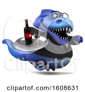 Clipart Of A 3d Blue Business T Rex Dinosaur Holding Wine On A White Background Royalty Free Illustration