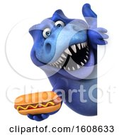 September 18th, 2018: Clipart Of A 3d Blue T Rex Dinosaur Holding A Hot Dog On A White Background Royalty Free Illustration by Julos