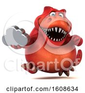 September 18th, 2018: Clipart Of A 3d Red T Rex Dinosaur Holding A Cloud On A White Background Royalty Free Illustration by Julos