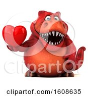 September 18th, 2018: Clipart Of A 3d Red T Rex Dinosaur Holding A Heart On A White Background Royalty Free Illustration by Julos