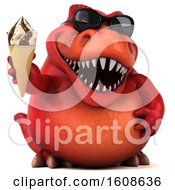 September 18th, 2018: Clipart Of A 3d Red T Rex Dinosaur Holding A Waffle Cone On A White Background Royalty Free Illustration by Julos