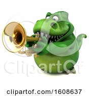 September 18th, 2018: Clipart Of A 3d Green T Rex Dinosaur Holding A Trumpet On A White Background Royalty Free Illustration by Julos