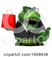 September 18th, 2018: Clipart Of A 3d Green Business T Rex Dinosaur Holding A Shopping Bag On A White Background Royalty Free Illustration by Julos