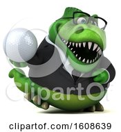 September 17th, 2018: Clipart Of A 3d Green Business T Rex Dinosaur Holding A Golf Ball On A White Background Royalty Free Illustration by Julos