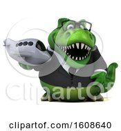Poster, Art Print Of 3d Green Business T Rex Dinosaur Holding A Plane On A White Background
