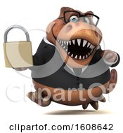 September 17th, 2018: Clipart Of A 3d Brown Business T Rex Dinosaur Holding A Padlock On A White Background Royalty Free Illustration by Julos