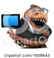 September 17th, 2018: Clipart Of A 3d Brown Business T Rex Dinosaur Holding A Tablet On A White Background Royalty Free Illustration by Julos