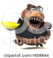 September 17th, 2018: Clipart Of A 3d Brown Business T Rex Dinosaur Holding A Banana On A White Background Royalty Free Illustration by Julos